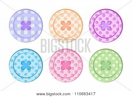 Vector Sewing Buttons Orange, Blue, Green, Purple, Pink, Red, Pastel Colors With Different Textures