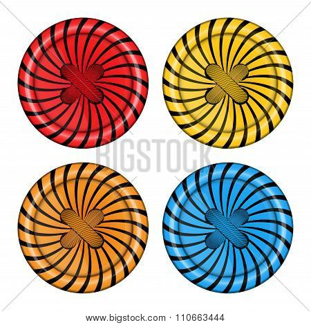 Vector Set Of Sewing Buttons Red Orange, Blue And Yellow Colors With Spiral Background And Sewing Th