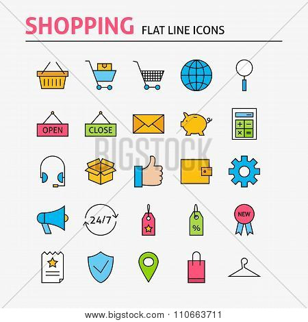 Online Shopping Colorful Flat Line Icons Set