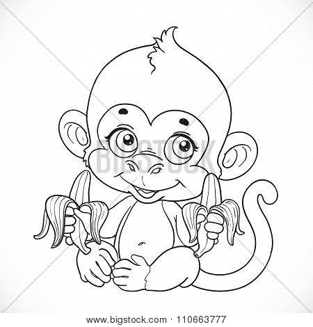 Cute Baby Monkey With Banana Outlined Isolated On A White Backgr