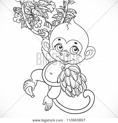 Cute Baby Monkey With Bananas Outlined Isolated On A White Backg