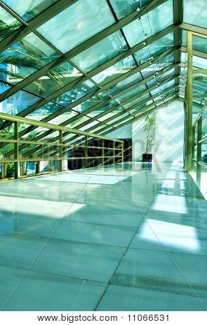 Modern Blue Business Hall Inside Office Center