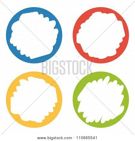 Set Of 4 Colorful Badges With Hand Erased Center