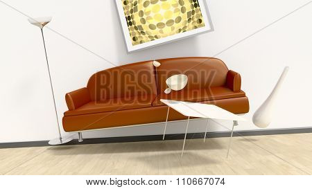 3d rendering of a room with flying furniture