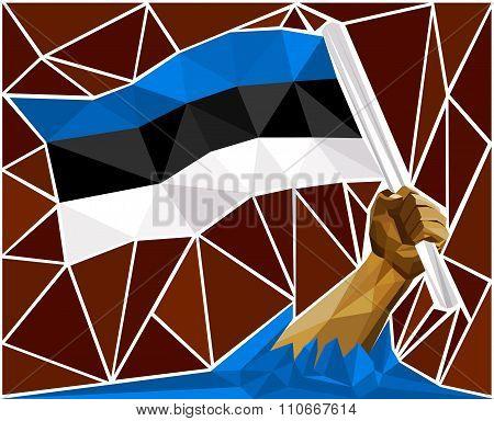 Patriotic Powerful Man Arm Raising The National Flag Of Estonia