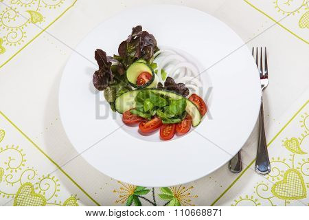Mediterranean Salad In A Restaurant