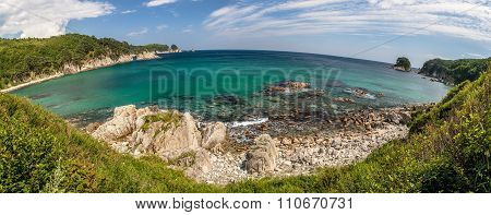 Panorama With Round Horizon Of The Sea Landscape, Bay Telyakovsky Island Languishing Heart, Far East