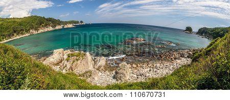 Panorama With Round Horizon Of The Sea Landscape, Bay Telyakovsky Island Languishing Heart, Far East