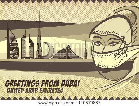 Greetings From Dubai - Arab Woman