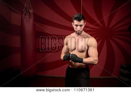 boxer and streetfighter preparing for match training and posing without gloves