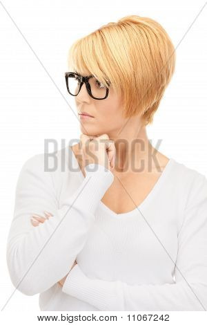 Pensive Businesswoman Over White