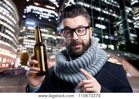 Young Man With Beer Bottle