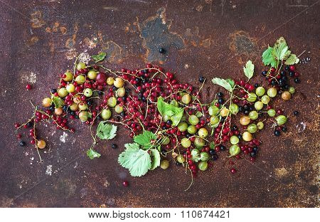 Summer berries on rusty grunge metal background, top view