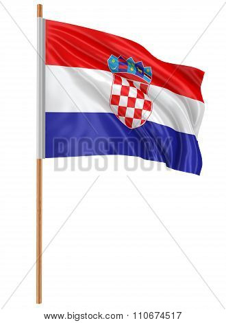 3D Croatian flag with fabric surface texture. White background.