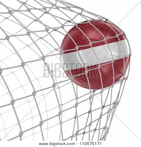 Latvian soccerball in net. Image with clipping path