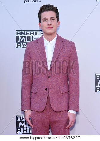 LOS ANGELES - NOV 22:  Charlie Puth arrives to the American Music Awards 2015  on November 22, 2015 in Los Angeles, CA.