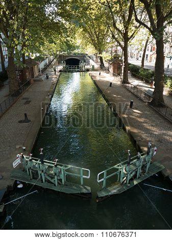 Lock Opening On Canal Saint Martin, Paris