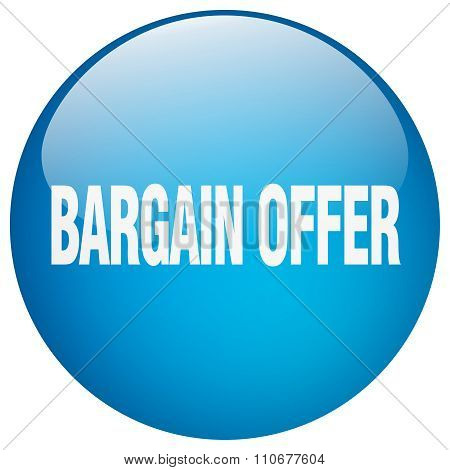 Bargain Offer Blue Round Gel Isolated Push Button
