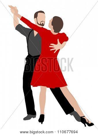 tango dancers illustration