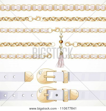 Belt On Chain With A Tassel, White Leather Belt Buttoned And Unb