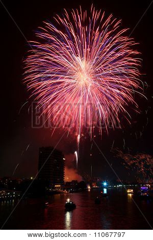 Big Pink Firework Over Chaophraya River Bangkok On Father's Day,bangkok Thailand
