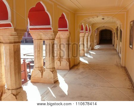 Gallery At Chandra Mahal In Jaipur City Palace, Rajasthan, India
