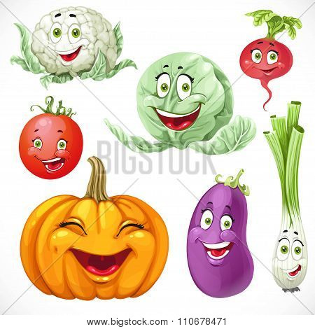 Cartoon Vegetables Smiles Pumpkin, Green Onions, Cabbage, Cauliflower, Tomato, Eggplant, Radishes