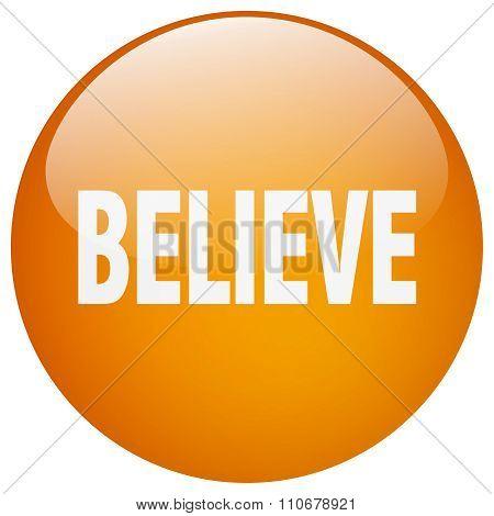 Believe Orange Round Gel Isolated Push Button