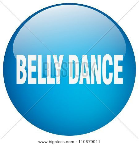 Belly Dance Blue Round Gel Isolated Push Button