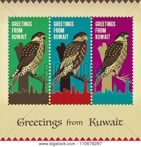 Three Vintage Style Postage Stamps - Greetings From Kuwait - Traditional Arabian Falcon