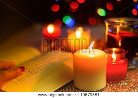 Aromatic Candles,pocket Book And Lemon Tea