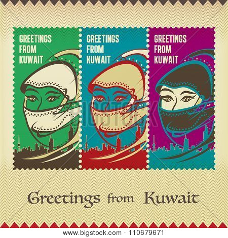 Three Vintage Style Postage Stamps - Greetings From Kuwait - Traditional Hijab Woman