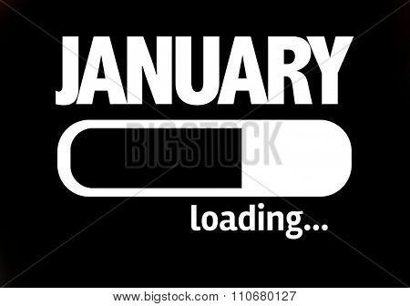 Progress Bar Loading with the text: January