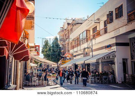 NICOSIA, CYPRUS - APRIL 13 : People walking on Ledra street on April 13 2015 in Nicosia Cyprus.