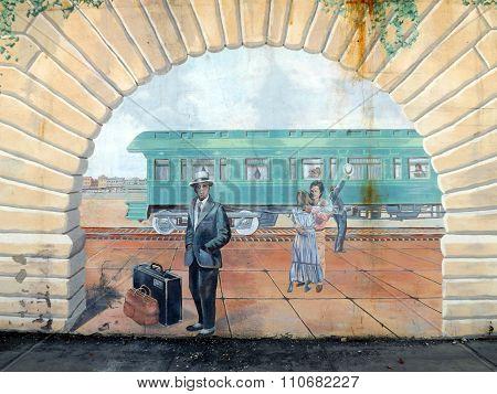 Mural: Joliet Steam Train, Saying Goodbye