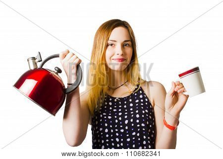 Smiling Young Woman Offering Cuppa Coffee