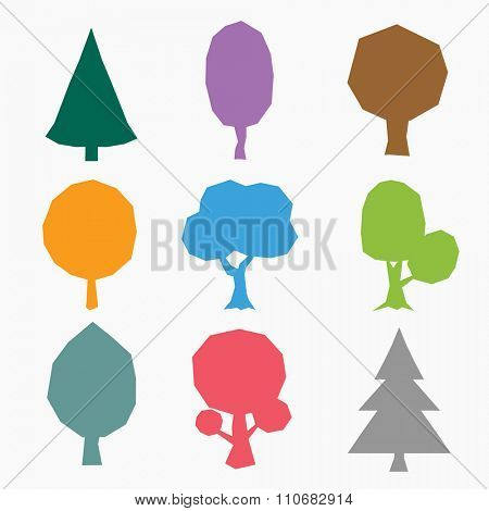 Stylized vector tree icons. Vector tree flat silhouette isolated on white background. Tree different size and forms. Tree icons set. Tree eco nature. Green collection of tree. Leaves, tree. Tree