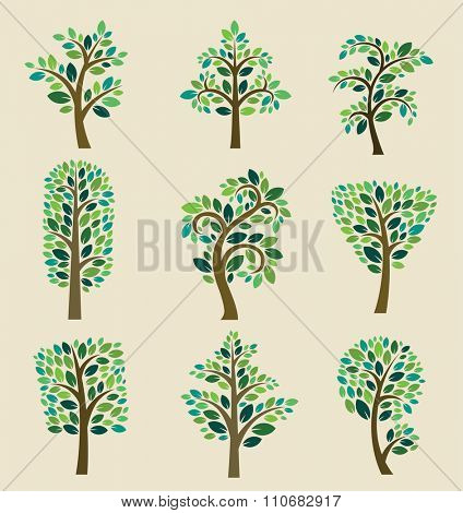 Stylized vector tree collection. Vector tree flat silhouette isolated on background. Tree different size and forms. Tree icons set. Tree eco nature. Green collection of tree. Leaves, tree. Tree vector