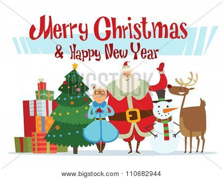 Santa Claus, Missis Claus, elf kids, helpers, family vector illustration. Christmas cartoot people. Christmas traditional costume. Santa Claus helpers isolated on background. Santa Claus family