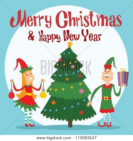 Santa Claus kids cartoon elf helpers vector illustration. Santa Claus elf helpers children. Santa helpers traditional costume. Santa family elfs helpers kids. Santa Claus elf, christmas kids