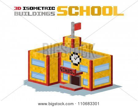 School building vector illustration. 3d school building isolated on white background. School or university building. Hight school building, school vector, school building. 3d isometric view building