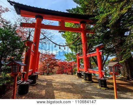 Torii Gate To Chureito Pagoda In Autumn, Fujiyoshida, Japan