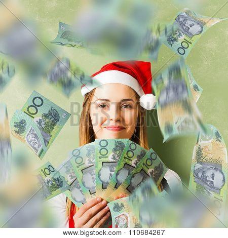 Christmas Woman With Australian Dollar Money Fan