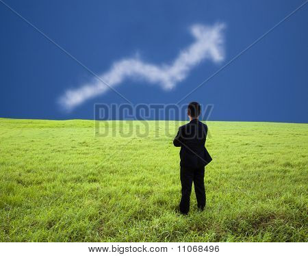 Businessman stand in the meadow and watch the business profit graph of cloud