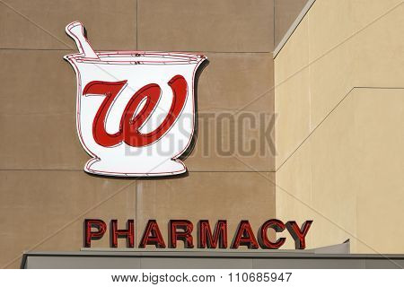 Walgreens Retail Store Exterior And Logo