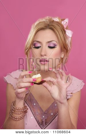 Beautiful Blonde Eating Diet Sweet
