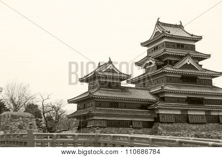 Masumoto Castle , Black Palace For War In Autumn At Nagano Province In  Japan  Vintage