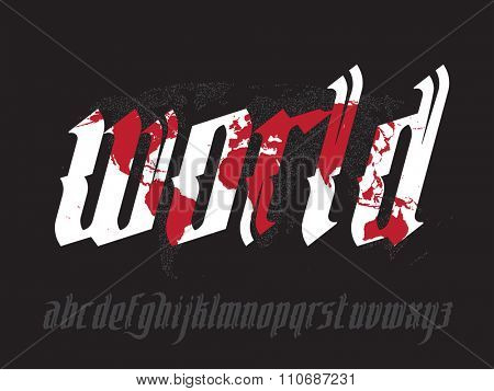 World lettering illustration with map. New modern gothic font. Gothic letters with decoration elements. Vector alphabet