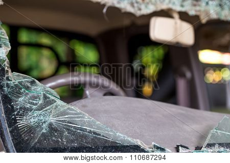 Car Shattered Glass From Accident