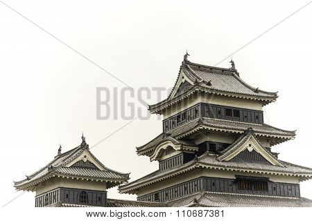 Masumoto Castle , Black Palace For War In Autumn At Nagano Province In  Japan Isolated On White Back
